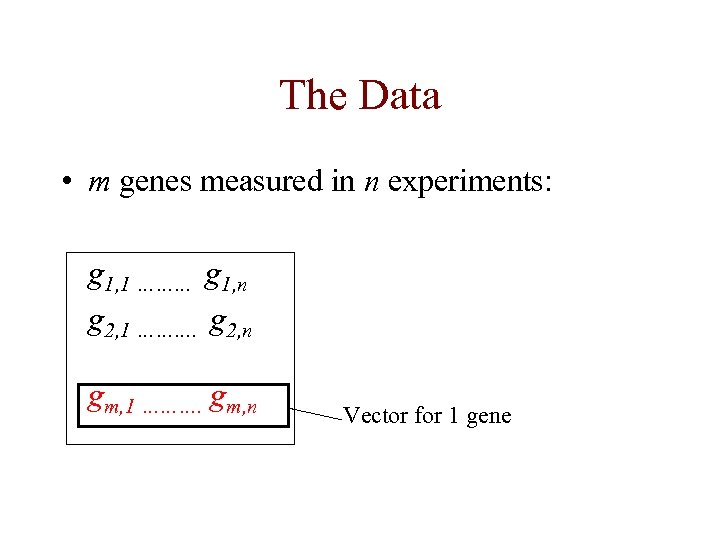 The Data • m genes measured in n experiments: g 1, 1 ……… g
