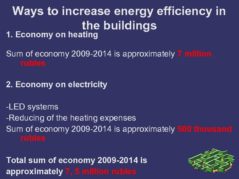 Ways to increase energy efficiency in the buildings 1. Economy on heating Sum of