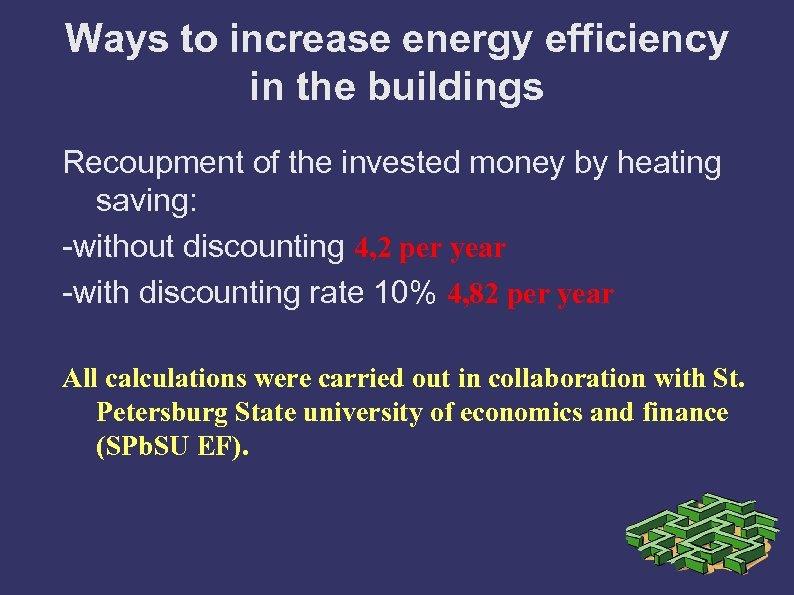 Ways to increase energy efficiency in the buildings Recoupment of the invested money by