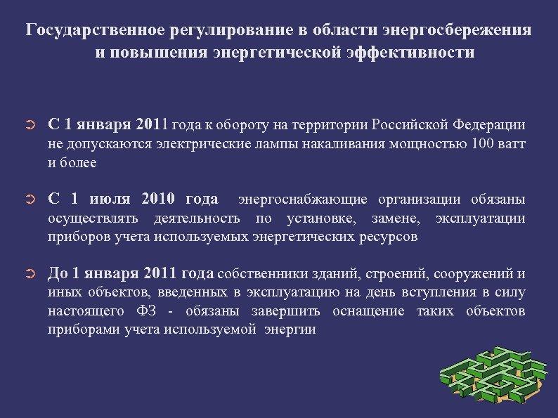 Государственное регулирование в области энергосбережения и повышения энергетической эффективности ➲ С 1 января 2011