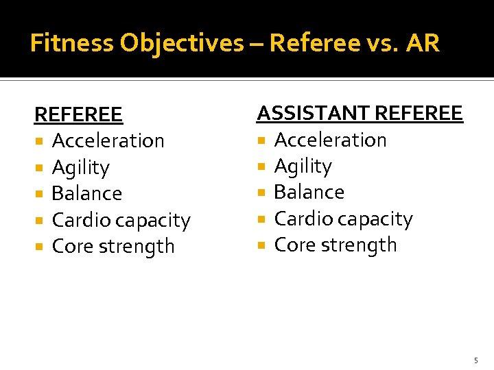 Fitness Objectives – Referee vs. AR REFEREE Acceleration Agility Balance Cardio capacity Core strength