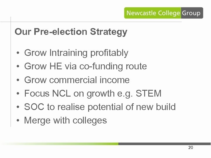Our Pre-election Strategy • • • Grow Intraining profitably Grow HE via co-funding route