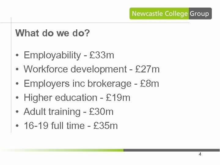 What do we do? • • • Employability - £ 33 m Workforce development