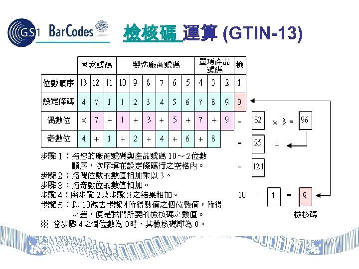 檢核碼 運算 (GTIN-13) 計算公式