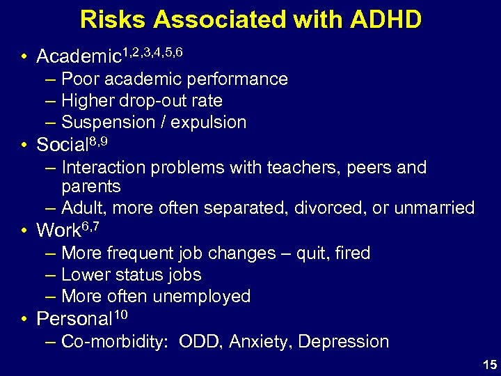Risks Associated with ADHD • Academic 1, 2, 3, 4, 5, 6 – Poor