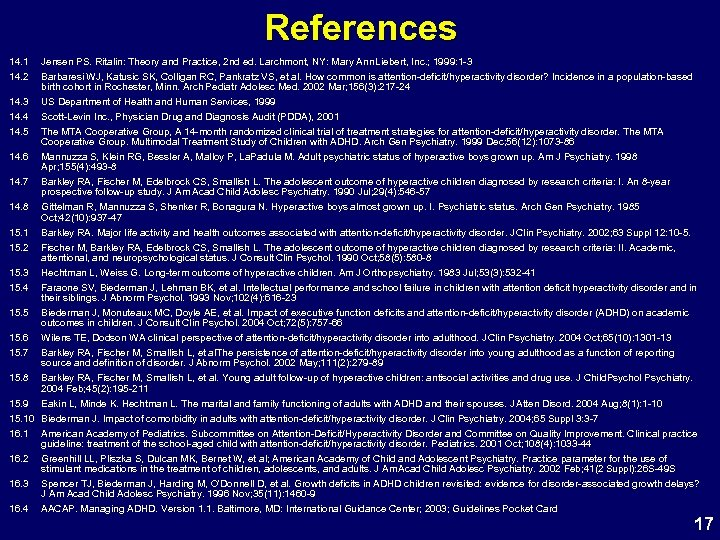 References 14. 1 14. 2 14. 3 14. 4 Jensen PS. Ritalin: Theory and