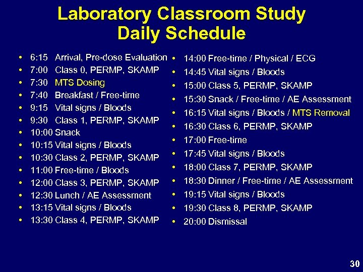 Laboratory Classroom Study Daily Schedule • • • • 6: 15 Arrival, Pre-dose Evaluation