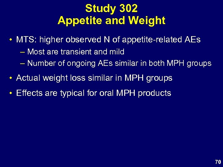 Study 302 Appetite and Weight • MTS: higher observed N of appetite-related AEs –