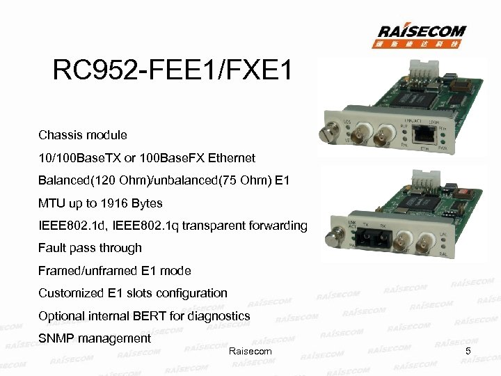 RC 952 -FEE 1/FXE 1 Chassis module 10/100 Base. TX or 100 Base. FX