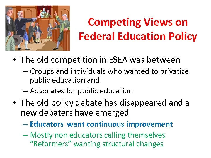 Competing Views on Federal Education Policy • The old competition in ESEA was between