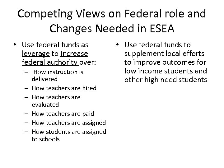 Competing Views on Federal role and Changes Needed in ESEA • Use federal funds