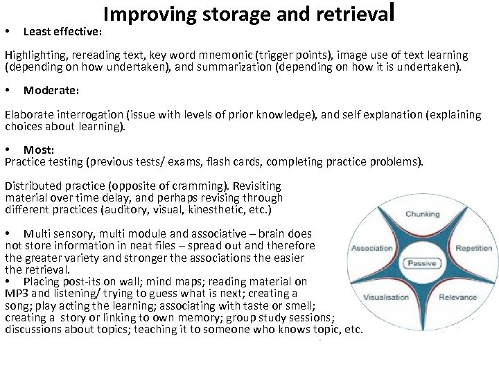 • Least effective: Improving storage and retrieval Highlighting, rereading text, key word mnemonic