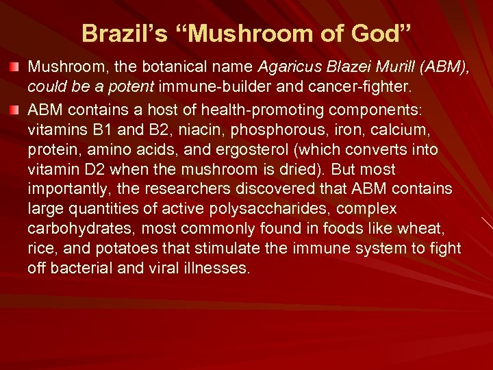 "Brazil's ""Mushroom of God"" Mushroom, the botanical name Agaricus Blazei Murill (ABM), could be"