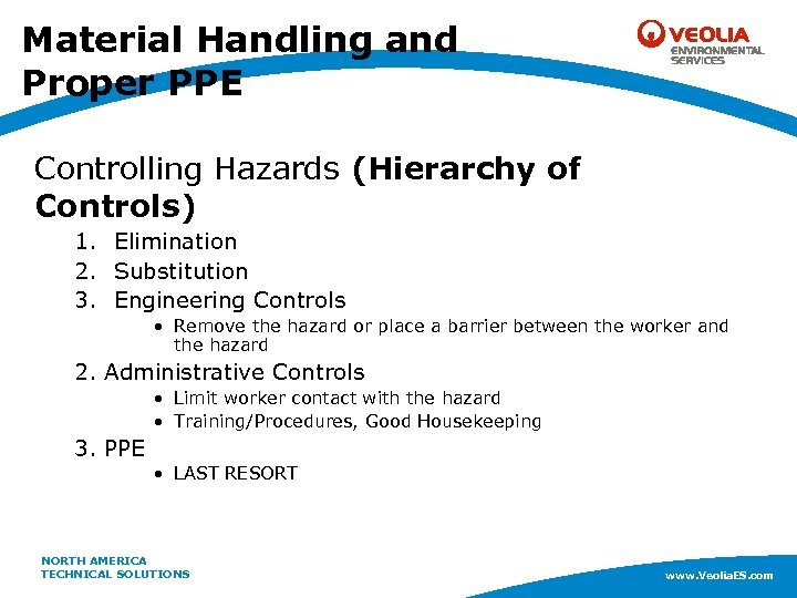 Material Handling and Proper PPE Controlling Hazards (Hierarchy of Controls) 1. Elimination 2. Substitution
