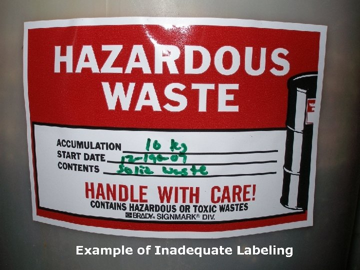Example of Inadequate Labeling NORTH AMERICA www. Veolia. ES. com TECHNICAL SOLUTIONS www. Veolia.