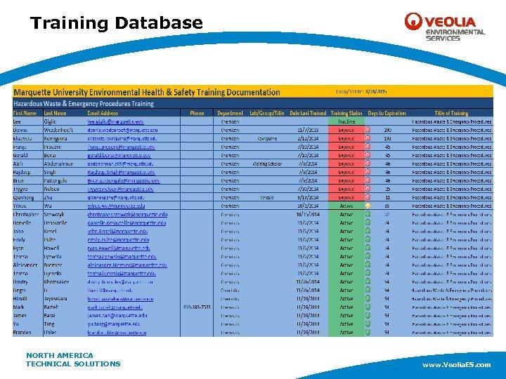 Training Database NORTH AMERICA www. Veolia. ES. com TECHNICAL SOLUTIONS www. Veolia. ES. com