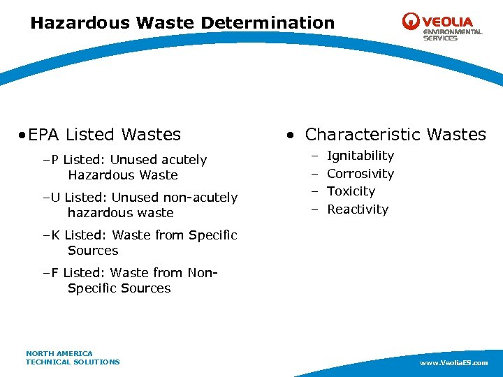 Hazardous Waste Determination • EPA Listed Wastes –P Listed: Unused acutely Hazardous Waste –U