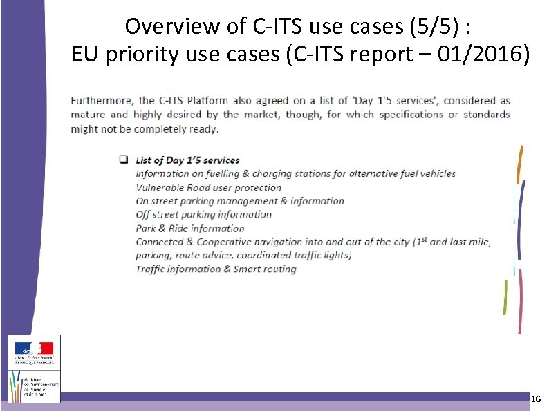Overview of C-ITS use cases (5/5) : EU priority use cases (C-ITS report –