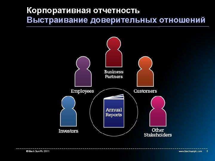 Корпоративная отчетность Выстраивание доверительных отношений © Black Sun Plc 2011 www. blacksunplc. com 5