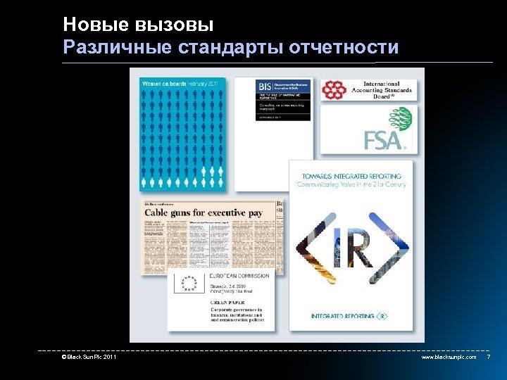 Новые вызовы Различные стандарты отчетности more on regulations © Black Sun Plc 2011 www.