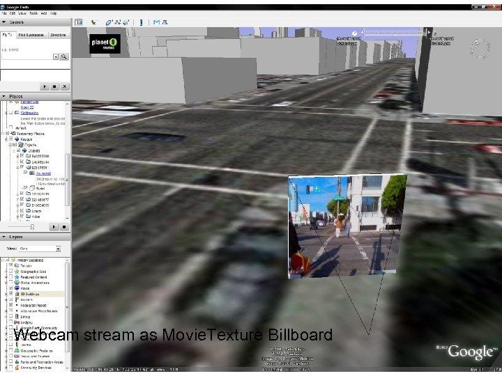 Planet 9 Ray. Gun scene 1 Webcam stream as Movie. Texture Billboard