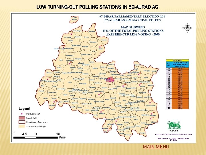 LOW TURNING-OUT POLLING STATIONS IN 52 -AURAD AC MAIN MENU