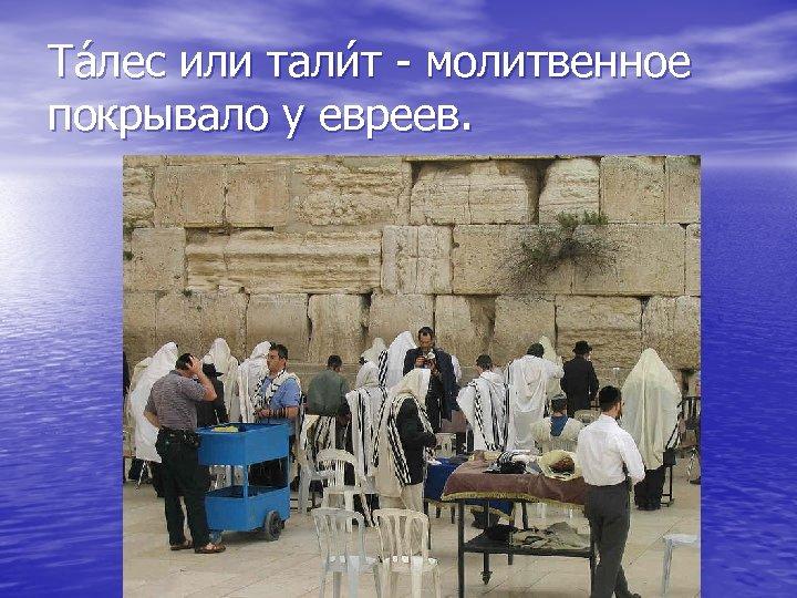 Та лес или тали т - молитвенное покрывало у евреев.