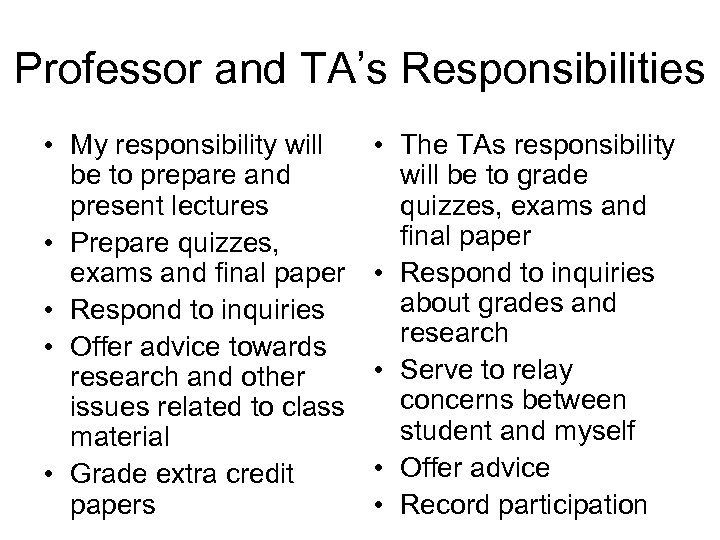 Professor and TA's Responsibilities • My responsibility will be to prepare and present lectures