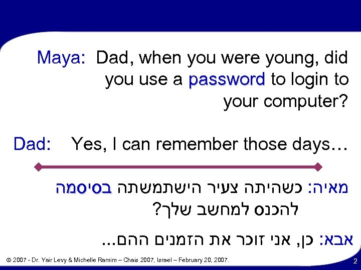 Maya: Dad, when you were young, did you use a password to login to