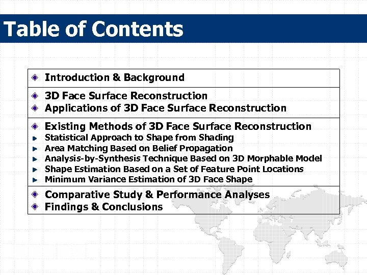 Table of Contents Introduction & Background 3 D Face Surface Reconstruction Applications of 3