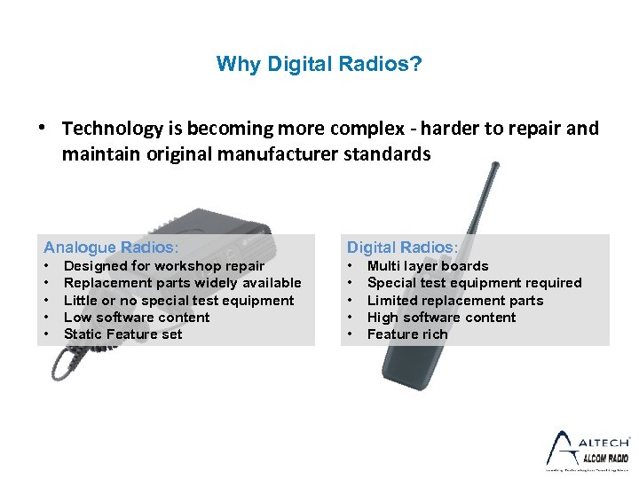 Why Digital Radios? • Technology is becoming more complex - harder to repair and