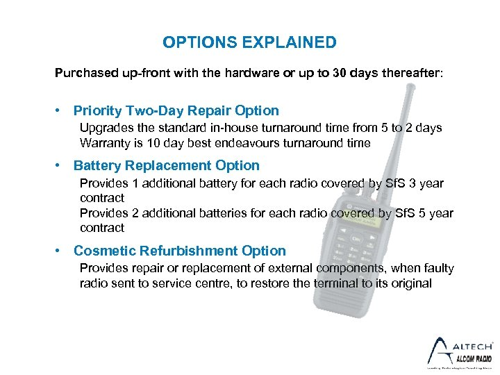 OPTIONS EXPLAINED Purchased up-front with the hardware or up to 30 days thereafter: •
