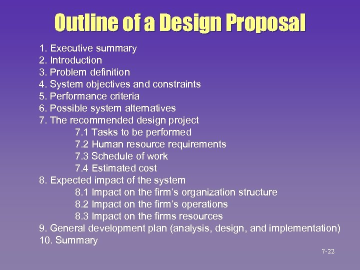 Outline of a Design Proposal 1. Executive summary 2. Introduction 3. Problem definition 4.