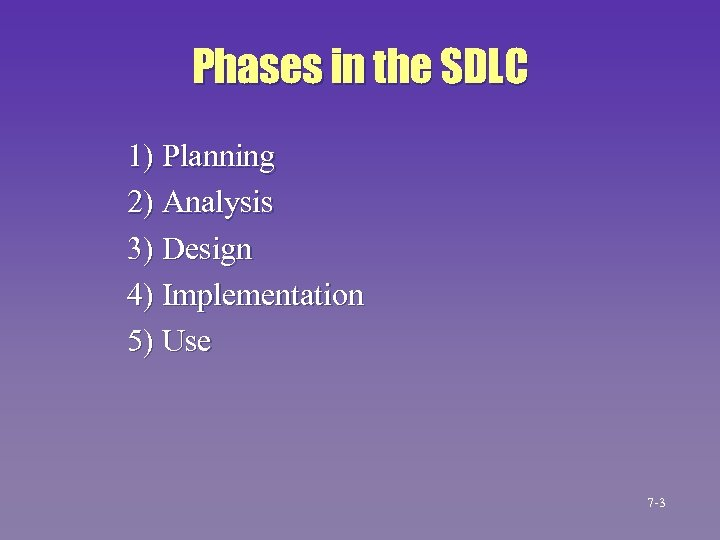 Phases in the SDLC 1) Planning 2) Analysis 3) Design 4) Implementation 5) Use