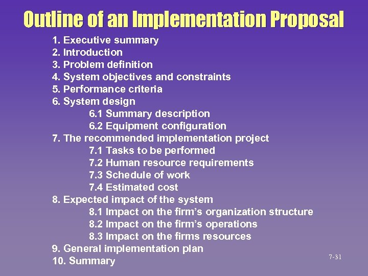 Outline of an Implementation Proposal 1. Executive summary 2. Introduction 3. Problem definition 4.