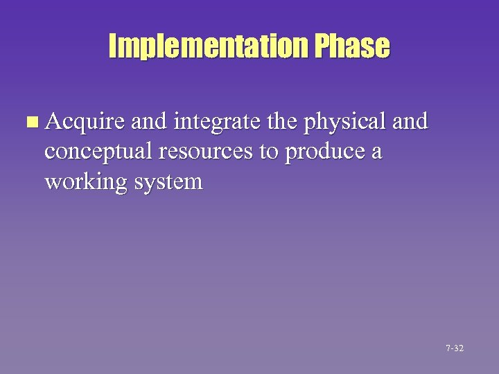 Implementation Phase n Acquire and integrate the physical and conceptual resources to produce a