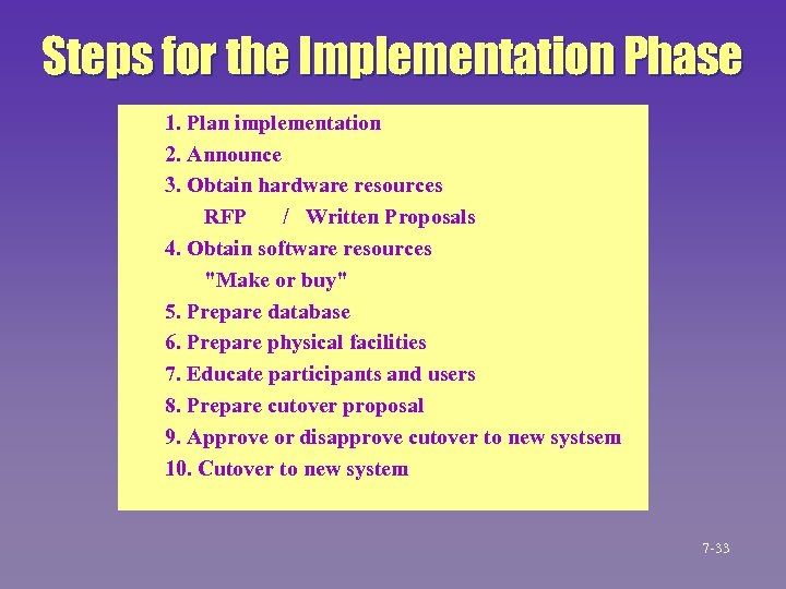 Steps for the Implementation Phase 1. Plan implementation 2. Announce 3. Obtain hardware resources