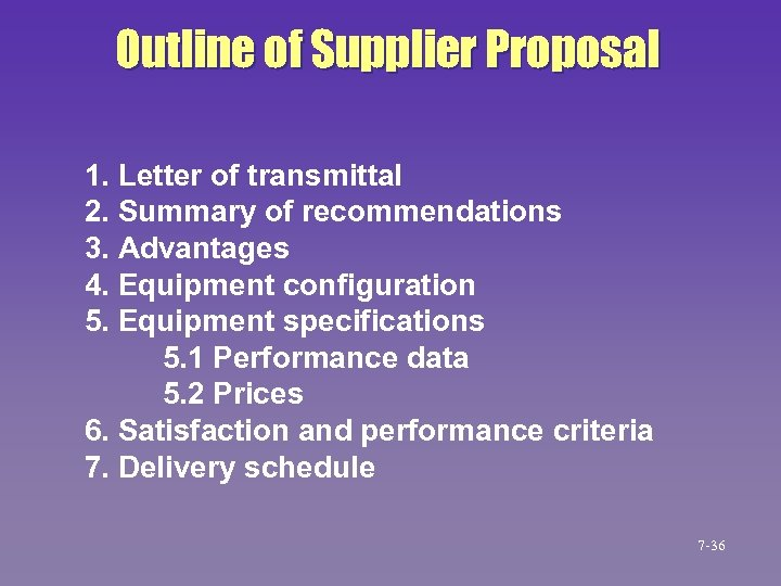 Outline of Supplier Proposal 1. Letter of transmittal 2. Summary of recommendations 3. Advantages