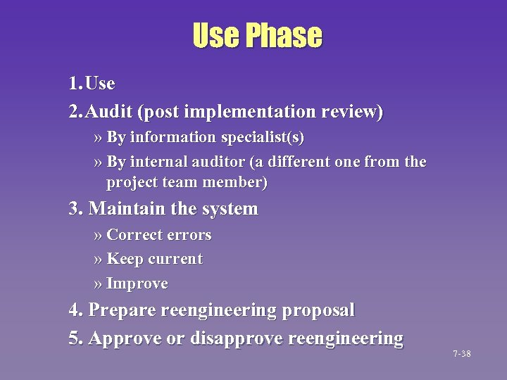 Use Phase 1. Use 2. Audit (post implementation review) » By information specialist(s) »