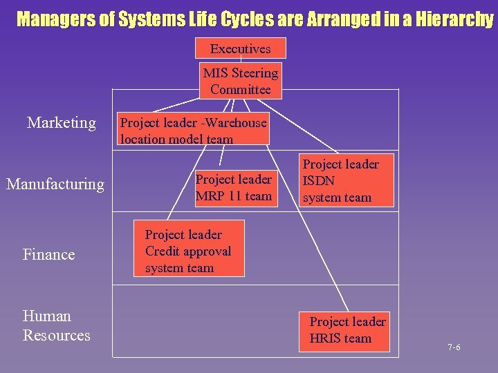 Managers of Systems Life Cycles are Arranged in a Hierarchy Executives MIS Steering Committee