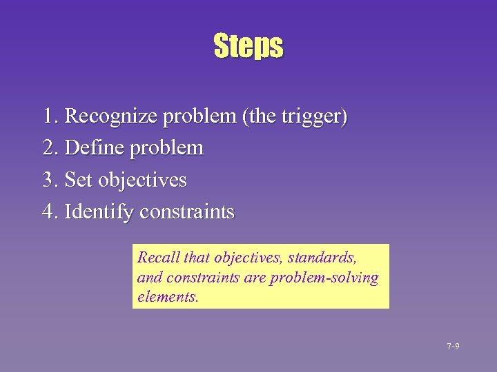 Steps 1. Recognize problem (the trigger) 2. Define problem 3. Set objectives 4. Identify