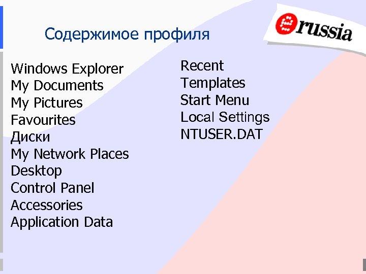 Содержимое профиля Windows Explorer My Documents My Pictures Favourites Диски My Network Places Desktop