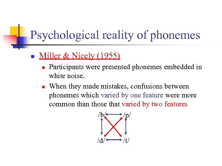 Psychological reality of phonemes n Miller & Nicely (1955) n n Participants were presented