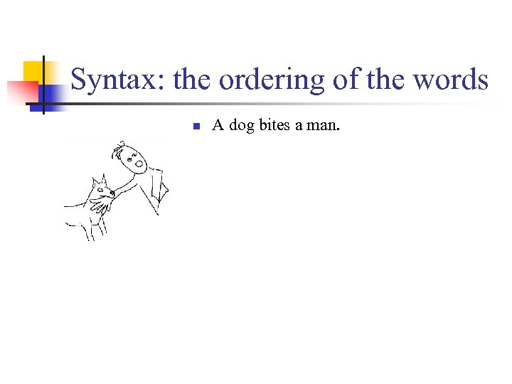 Syntax: the ordering of the words n A dog bites a man.