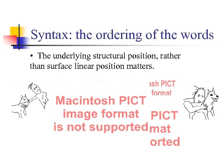 Syntax: the ordering of the words • The underlying structural position, rather than surface