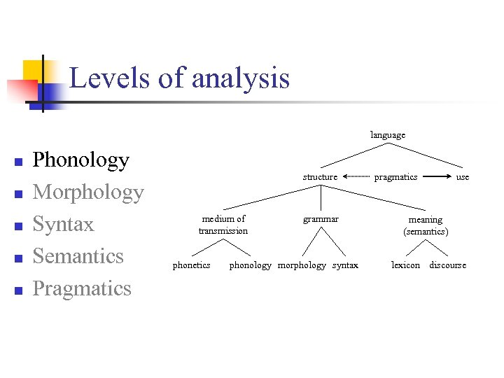 Levels of analysis language n n n Phonology Morphology Syntax Semantics Pragmatics structure medium
