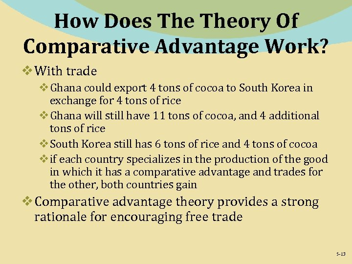How Does Theory Of Comparative Advantage Work? v With trade v. Ghana could export