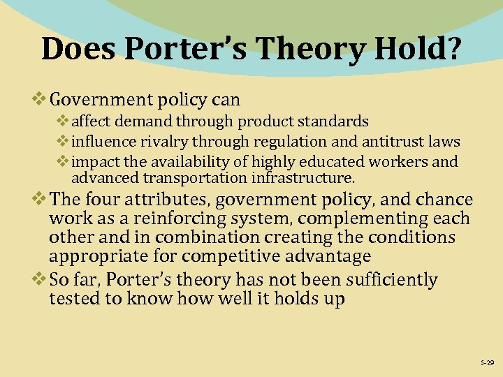 Does Porter's Theory Hold? v Government policy can vaffect demand through product standards vinfluence