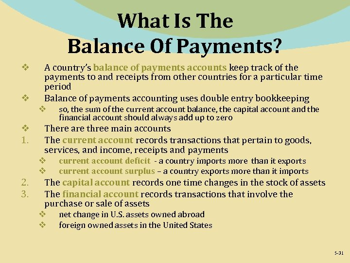 What Is The Balance Of Payments? v v A country's balance of payments accounts