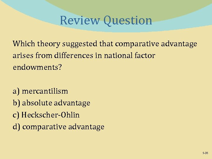 Review Question Which theory suggested that comparative advantage arises from differences in national factor